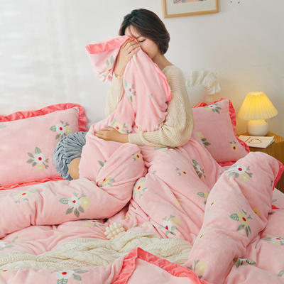 2019新款Chic少女花邊牛奶絨套件-影棚圖 1.5m床單款 韓式小花