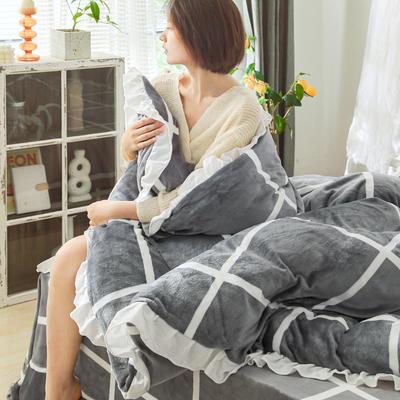 2019新款Chic少女花边牛奶绒套件-影棚图 1.8m床单款 灰大格