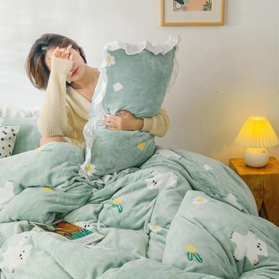 2019新款Chic少女花边牛奶绒套件-影棚图 1.8m床单款 绿底小熊