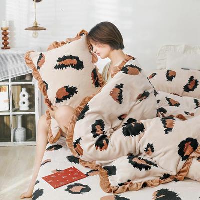 2019新款Chic少女花边牛奶绒套件-影棚图 1.8m床单款 米豹纹