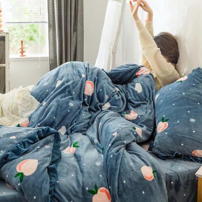 2019新款Chic少女花边牛奶绒套件-影棚图 1.8m床单款 蜜桃