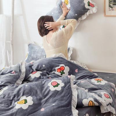 2019新款Chic少女花边牛奶绒套件-影棚图 1.8m床单款 趣味水果