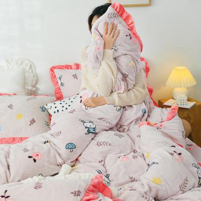 2019新款Chic少女花边牛奶绒套件-影棚图 1.8m床单款 森林兔
