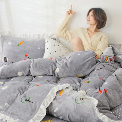 2019新款Chic少女花边牛奶绒套件-影棚图 1.8m床单款 水果屋