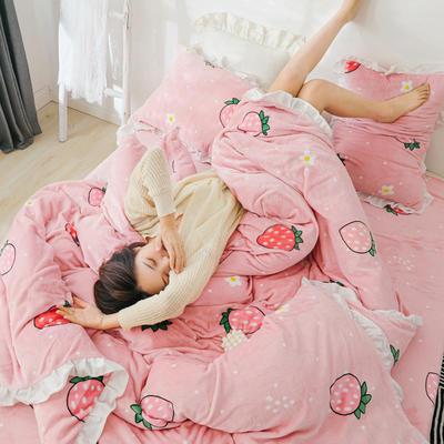2019新款Chic少女花边牛奶绒套件-影棚图 1.2m床单款三件套 甜心草莓