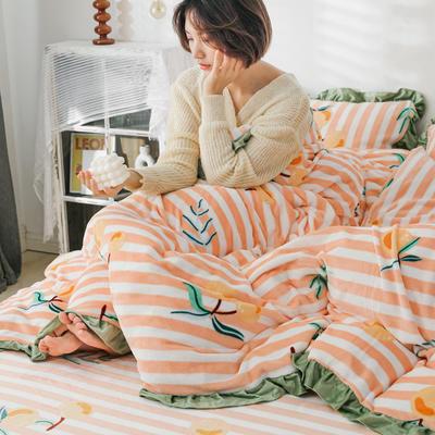 2019新款Chic少女花边牛奶绒套件-影棚图 1.8m床单款 条纹枇杷