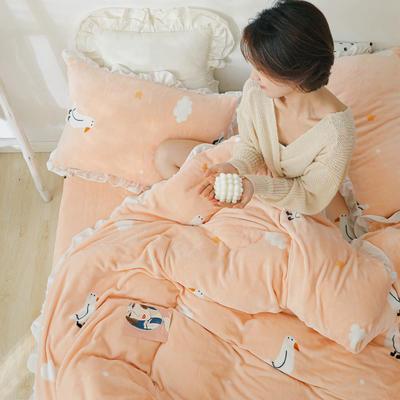 2019新款Chic少女花边牛奶绒套件-影棚图 1.8m床单款 童趣