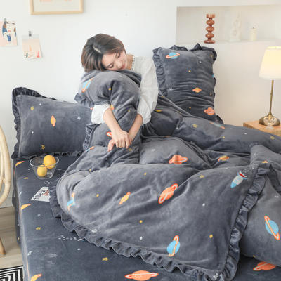 2019新款Chic少女花边牛奶绒套件-影棚图 1.8m床单款 小宇宙