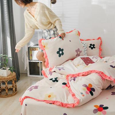 2019新款Chic少女花边牛奶绒套件-影棚图 1.8m床单款 泫雅花