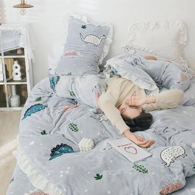 2019新款Chic少女花边牛奶绒套件-影棚图 1.2m床单款三件套 雪花恐龙