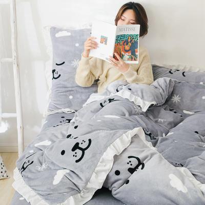 2019新款Chic少女花边牛奶绒套件-影棚图 1.8m床单款 雪花小熊