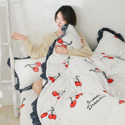 2019新款Chic少女花边牛奶绒套件-影棚图 1.8m床单款 樱桃