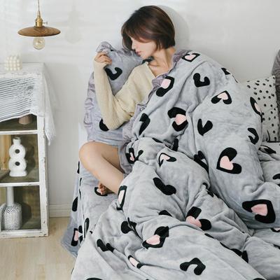 2019新款Chic少女花边牛奶绒套件-影棚图 1.8m床单款 爱心灰豹纹