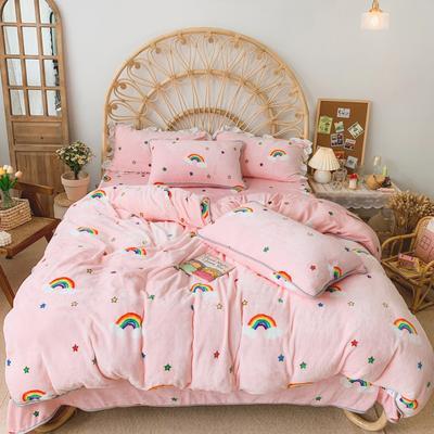 2019新款牛奶绒小包边套件-实拍图 1.5m床单款 彩虹