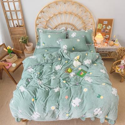 2019新款牛奶绒小包边套件-实拍图 1.2m床单款三件套 绿底小熊