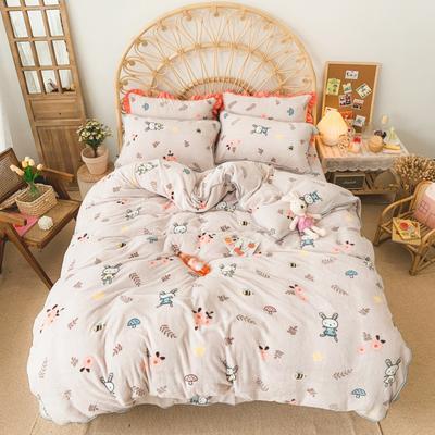 2019新款牛奶绒小包边套件-实拍图 1.5m床单款 蘑菇森林兔
