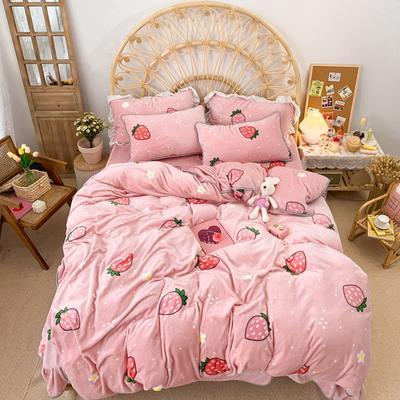 2019新款牛奶绒小包边套件-实拍图 1.2m床单款三件套 甜心草莓