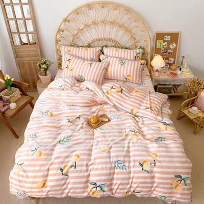 2019新款牛奶绒小包边套件-实拍图 1.2m床单款三件套 条纹枇杷