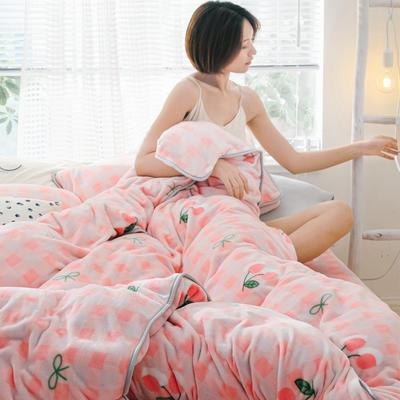 2019新款牛奶绒小包边套件-影棚图 1.8m床单款 格子樱桃