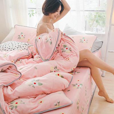 2019新款牛奶绒小包边套件-影棚图 1.8m床单款 韩式小花