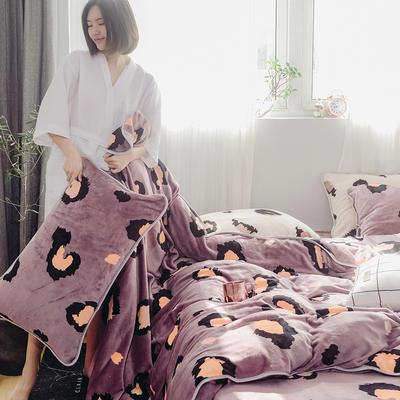 2019新款牛奶绒小包边套件-影棚图 1.8m床单款 咖豹纹