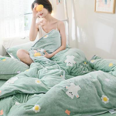 2019新款牛奶绒小包边套件-影棚图 1.2m床单款三件套 绿底小熊