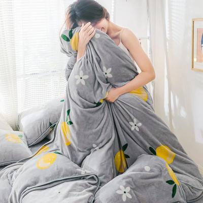 2019新款牛奶绒小包边套件-影棚图 1.8m床单款 清新橘子