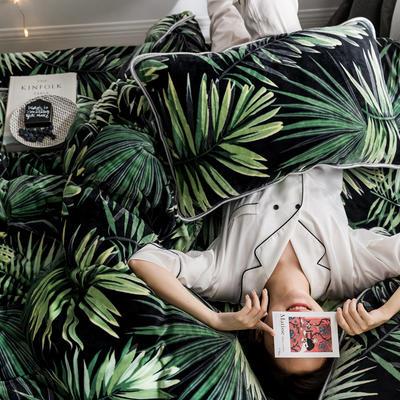2019新款牛奶绒小包边套件-影棚图 1.8m床单款 热带雨林