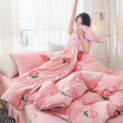 2019新款牛奶绒小包边套件-影棚图 1.2m床单款三件套 甜心草莓