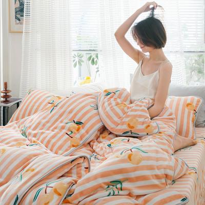 2019新款牛奶绒小包边套件-影棚图 1.2m床单款三件套 条纹枇杷