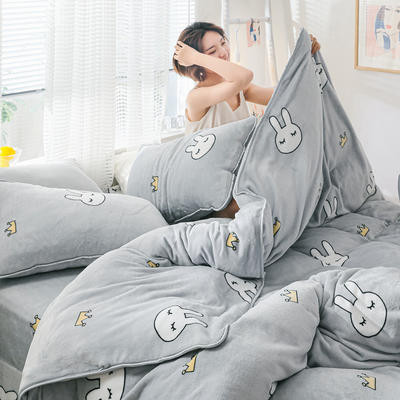 2019新款牛奶绒小包边套件-影棚图 1.8m床单款 兔子皇冠