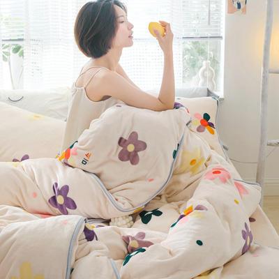 2019新款牛奶绒小包边套件-影棚图 1.8m床单款 泫雅花