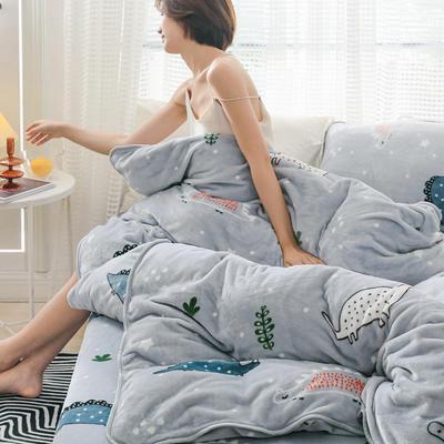2019新款牛奶绒小包边套件-影棚图 1.8m床单款 雪花恐龙