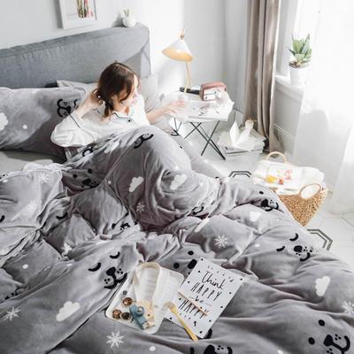 2019新款牛奶绒小包边套件-影棚图 1.8m床单款 雪花小熊