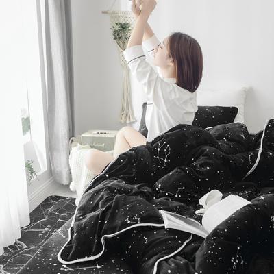 2019新款牛奶绒小包边套件-影棚图 1.5m床单款 星空