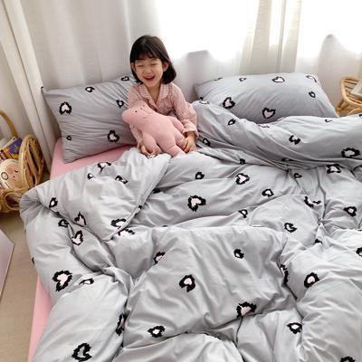 2019新款玻尿酸针织棉四套件(小模特图) 1.2m床单款三件套 爱心灰豹纹