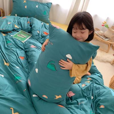 2019新款玻尿酸针织棉四套件(小模特图) 1.2m床单款三件套 彩虹恐龙