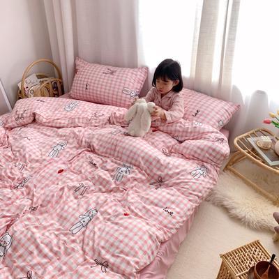 2019新款玻尿酸针织棉四套件(小模特图) 1.2m床单款三件套 格子玩偶