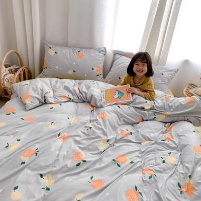 2019新款玻尿酸针织棉四套件(小模特图) 1.2m床单款三件套 灰底橘子