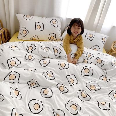 2019新款玻尿酸针织棉四套件(小模特图) 1.2m床单款三件套 鸡蛋花