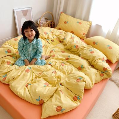 2019新款玻尿酸针织棉四套件(小模特图) 1.2m床单款三件套 橘子
