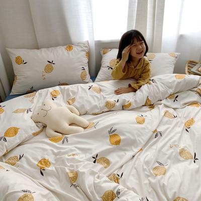 2019新款玻尿酸针织棉四套件(小模特图) 1.8m床单款 柠檬