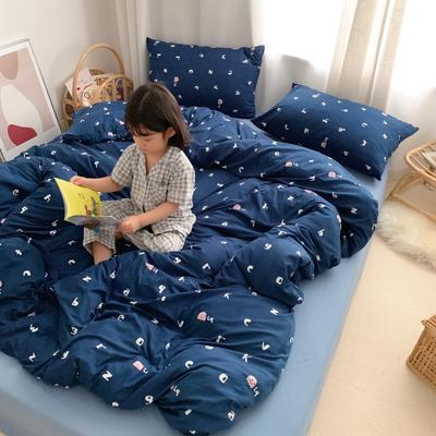 2019新款玻尿酸针织棉四套件(小模特图) 1.8m床单款 趣味字母