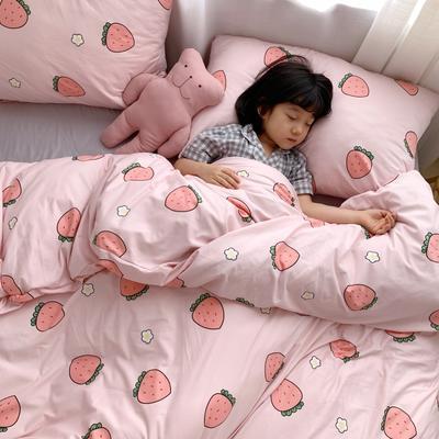 2019新款玻尿酸针织棉四套件(小模特图) 1.2m床单款三件套 甜心草莓