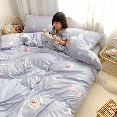 2019新款玻尿酸针织棉四套件(小模特图) 1.2m床单款三件套 小飞象