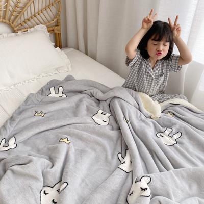 2019新款羊羔绒(模特图) 150*200 兔子皇冠