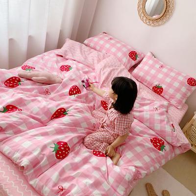 2019新款ins网红纯棉套件四件套 1.5m(5英尺)床单款 格子草莓