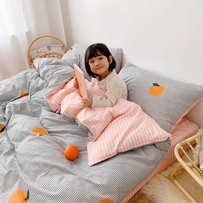 2019新款ins网红纯棉套件四件套 1.5m(5英尺)床单款 格子橙