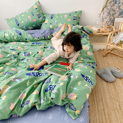 2019新款ins网红纯棉套件四件套 1.5m(5英尺)床单款 好多鱼绿
