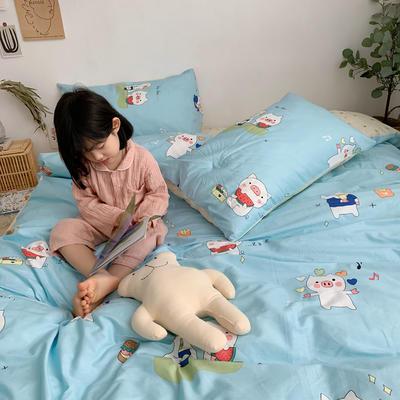 2019新款ins网红纯棉套件四件套 1.5m(5英尺)床单款 蓝猪